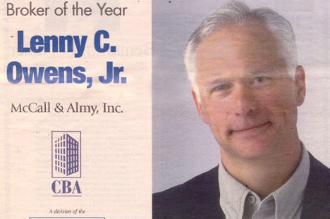 LENNY OWENS WINS CBA BROKER OF THE YEAR